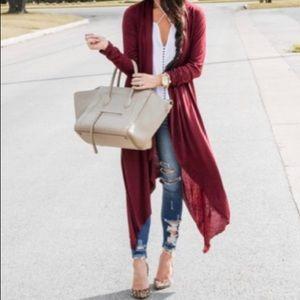 Jackets & Blazers - Waterfall draped Burgundy long duster